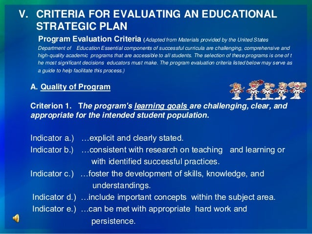 25. V. CRITERIA FOR EVALUATING AN EDUCATIONAL STRATEGIC PLAN ...