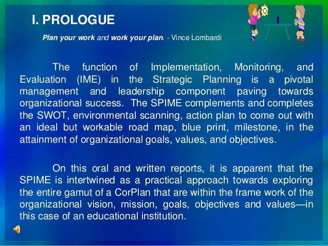 Strategic Planning Implementation Monitoring And Evaluation Spime