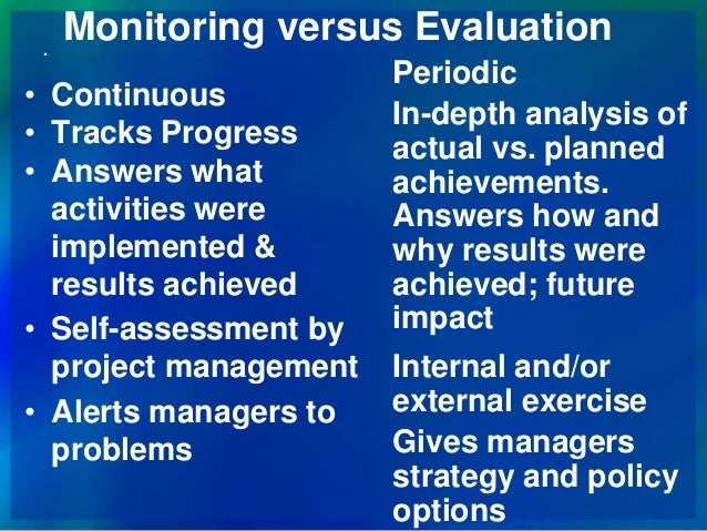 policy options 41 complementary roles of results based monitoring and evaluation