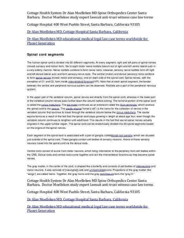 Spinal Cord Segments Alan Moelleken Md Cottage Hospital