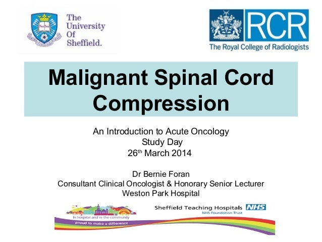 Malignant Spinal Cord Compression An Introduction to Acute Oncology Study Day 26th March 2014 Dr Bernie Foran Consultant C...