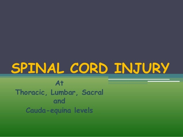SPINAL CORD INJURY At Thoracic, Lumbar, Sacral and Cauda-equina levels