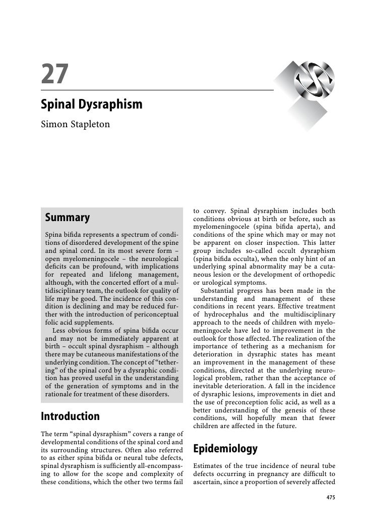 111 2 3 4        27 5 6      Spinal Dysraphism 7 8      Simon Stapleton 9 1011 1 2 3 4 5 6 7 8 9                          ...