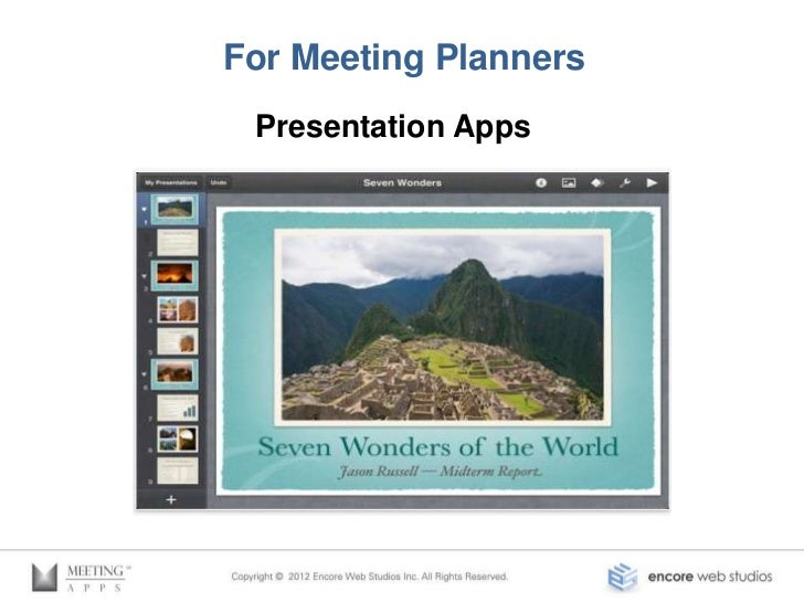 For Meeting Planners Presentation Apps