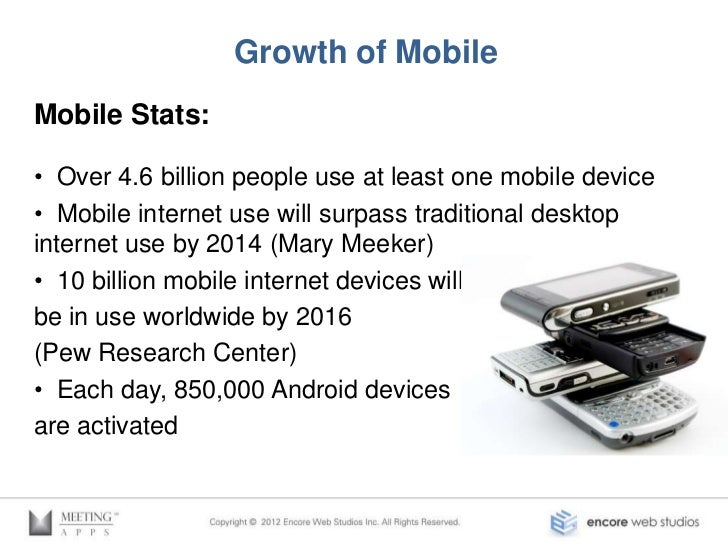 Growth of AppsApp Stats:• App Store: 725,000 Apps, and over 25 Billiondownloads• Google Play (for Android Apps): 600,000 A...