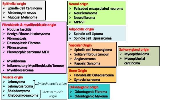 Epithelial origin  Spindle Cell Carcinoma  Melanocytic nevus  Mucosal Melanoma Fibroblastic & myofibroblastic origin  ...