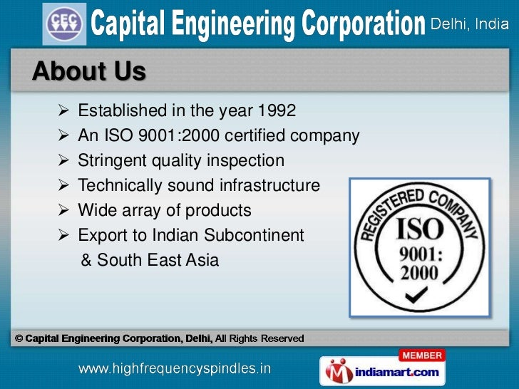 Spindle & Spindle Accessories by Capital Engineering Corporation, Delhi, New Delhi Slide 2