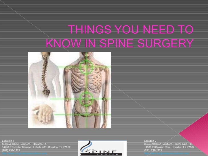 Location 2 Surgical Spine Solutions - Clear Lake TX 14903 El Camino Real, Houston, TX 77062 (281) 292-1121 http://www.su...