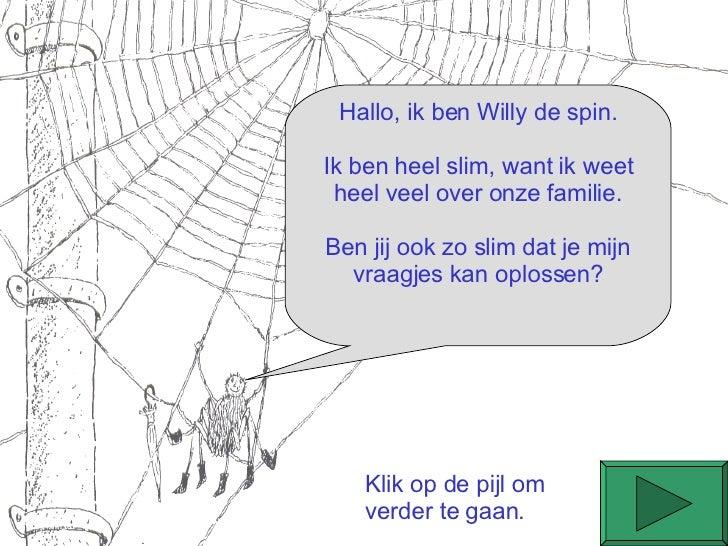 Hallo, ik ben Willy de spin. Ik ben heel slim, want ik weet heel veel over onze familie. Ben jij ook zo slim dat je mijn v...