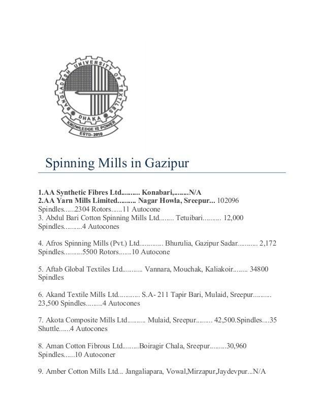 Spinning mills in gazipur