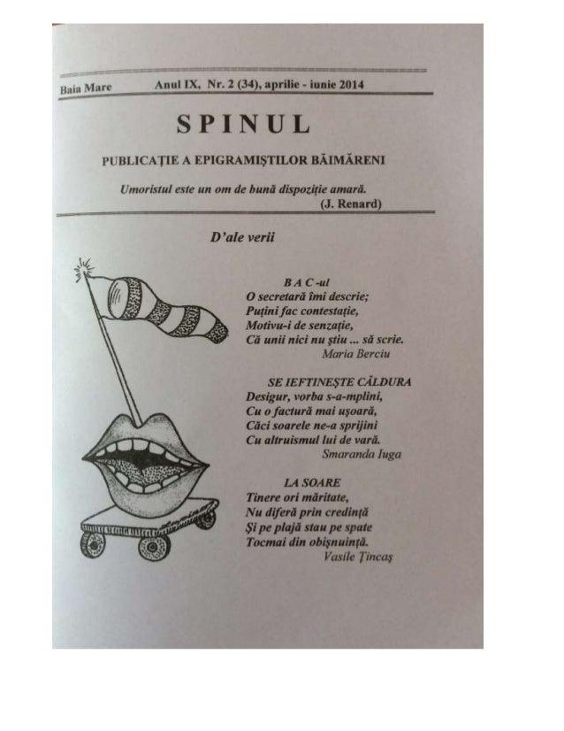 "B, E,%; , Marc Anul IX,  Nr.  2 (34),  aprilie - iunic 2014  SPJ""_I""""TUlL  PUBLICATIE A EPIGRAMISTILOR BAIMAREN1  Umorisml..."