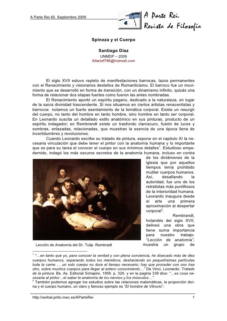 A Parte Rei 65. Septiembre 2009                                         Spinoza y el Cuerpo                               ...