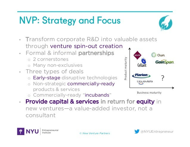 @NYUEntrepreneur NVP: Strategy and Focus • Transform corporate R&D into valuable assets through venture spin-out creation...