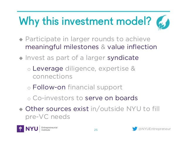 @NYUEntrepreneur Why this investment model? u Participate in larger rounds to achieve meaningful milestones & value infle...