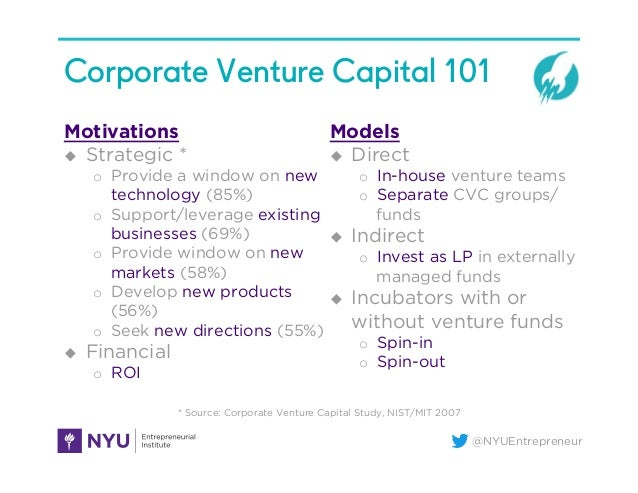 @NYUEntrepreneur Corporate Venture Capital 101 Motivations u Strategic * o Provide a window on new technology (85%) o ...