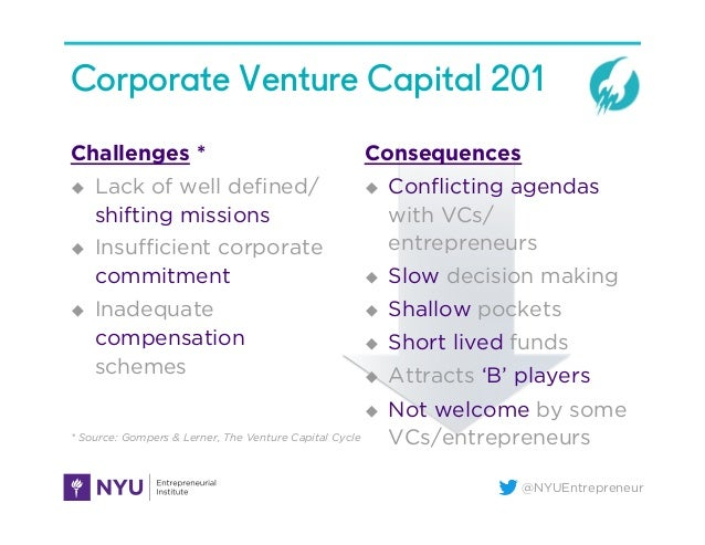 @NYUEntrepreneur Corporate Venture Capital 201 Challenges * u Lack of well defined/ shifting missions u Insufficient corp...
