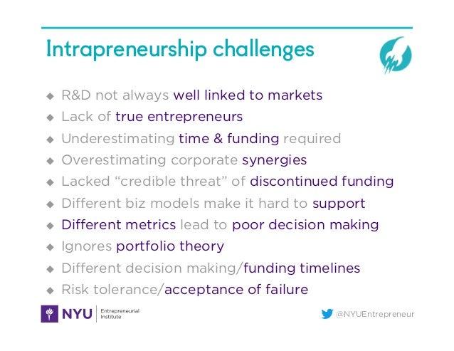 @NYUEntrepreneur Intrapreneurship challenges u R&D not always well linked to markets u Lack of true entrepreneurs u ...