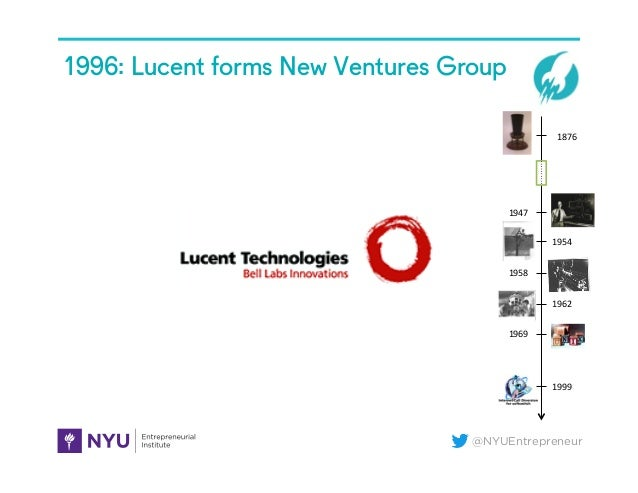 @NYUEntrepreneur 1996: Lucent forms New Ventures Group 1876   1947   1954   1958   1962   1969   1999
