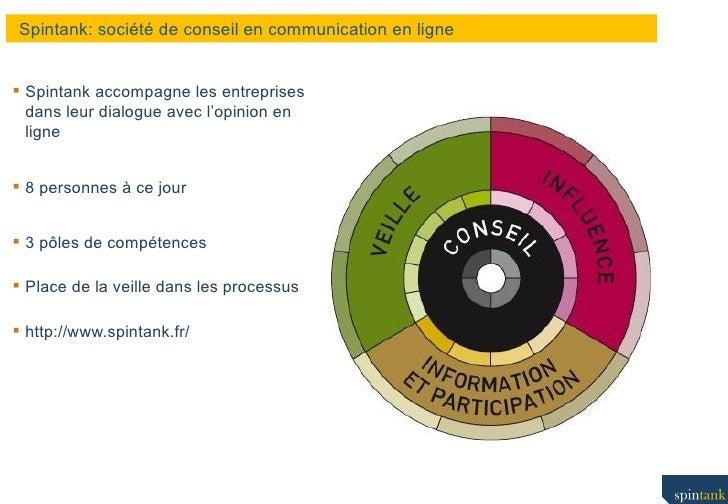 Spintank: société de conseil en communication en ligne <ul><li>Spintank accompagne les entreprises dans leur dialogue avec...