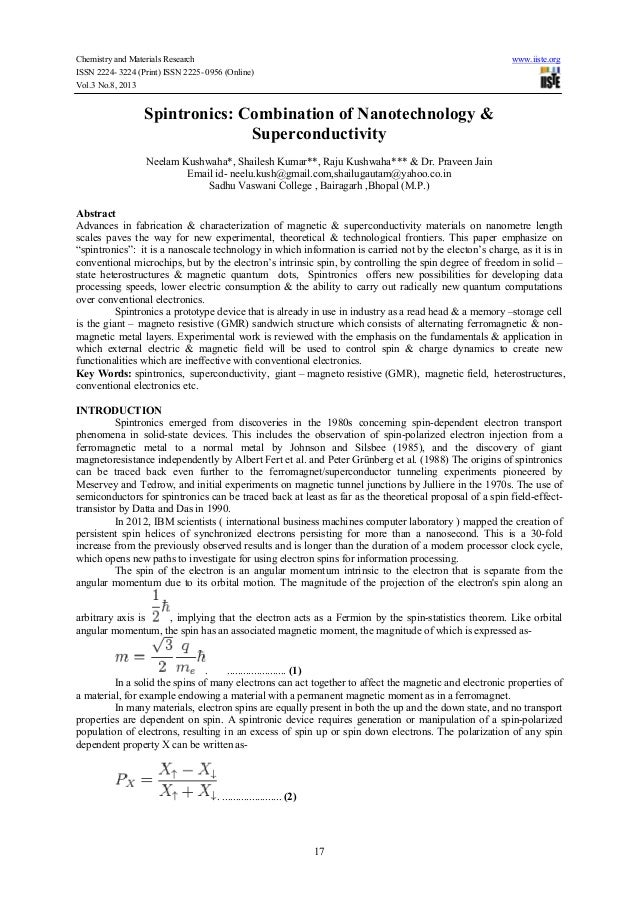 Chemistry and Materials Research www.iiste.org ISSN 2224- 3224 (Print) ISSN 2225- 0956 (Online) Vol.3 No.8, 2013 17 Spintr...