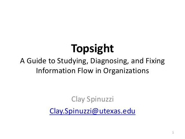 Topsight A Guide to Studying, Diagnosing, and Fixing Information Flow in Organizations Clay Spinuzzi Clay.Spinuzzi@utexas....