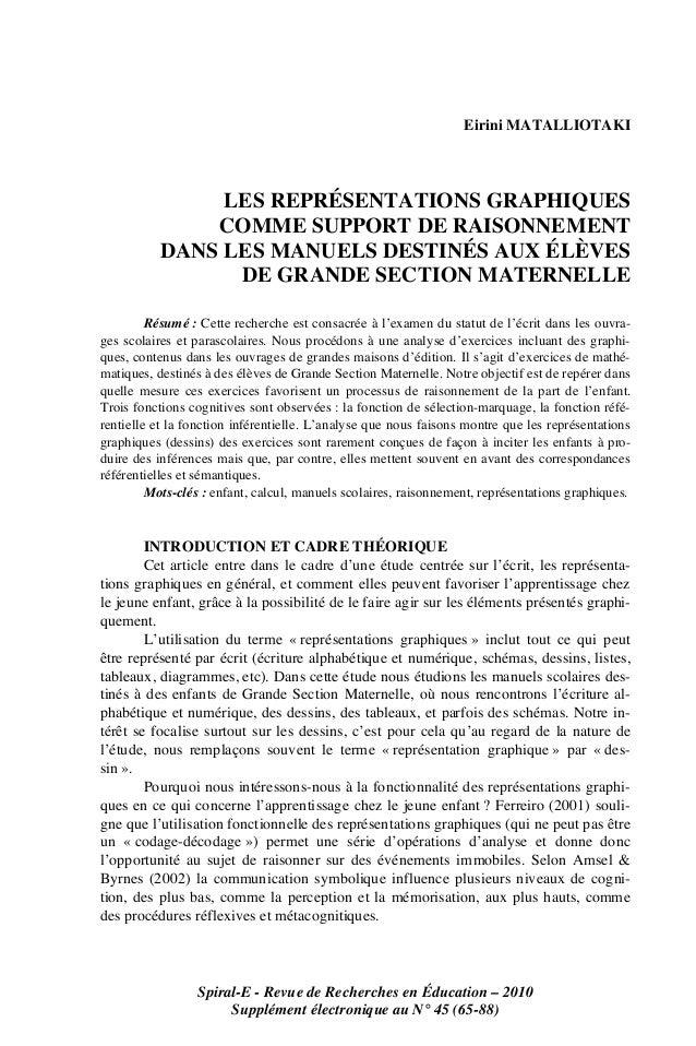 Spiral-E - Revue de Recherches en Éducation – 2010Supplément électronique au N° 45 (65-88)Eirini MATALLIOTAKILES REPRÉSENT...