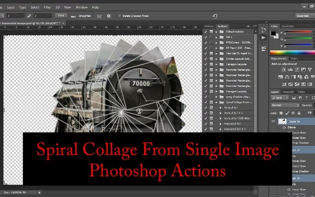 Spiral Collage From Single Image Photoshop Actions Download test files and buy actions for only $4