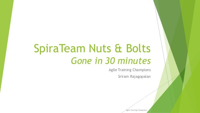SpiraTeam Nuts & Bolts Gone in 30 minutes Agile Training Champions Sriram Rajagopalan Agile Training Champions