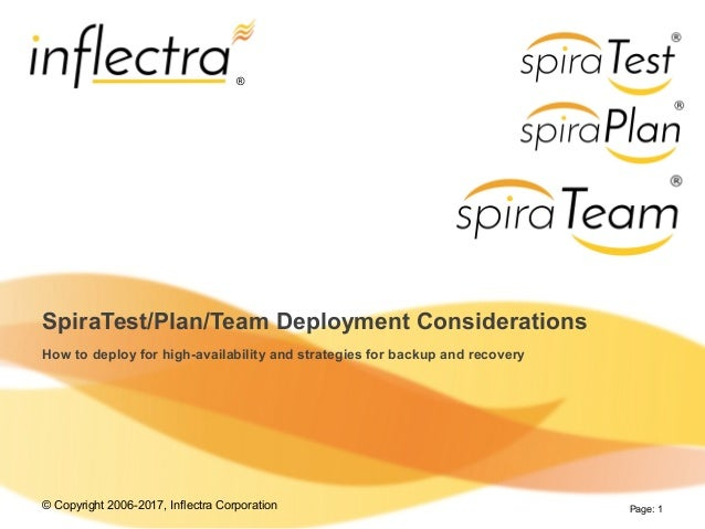June 23rd, 2009 Inflectra Proprietary Information Page: 1 SpiraTest/Plan/Team Deployment Considerations How to deploy for ...