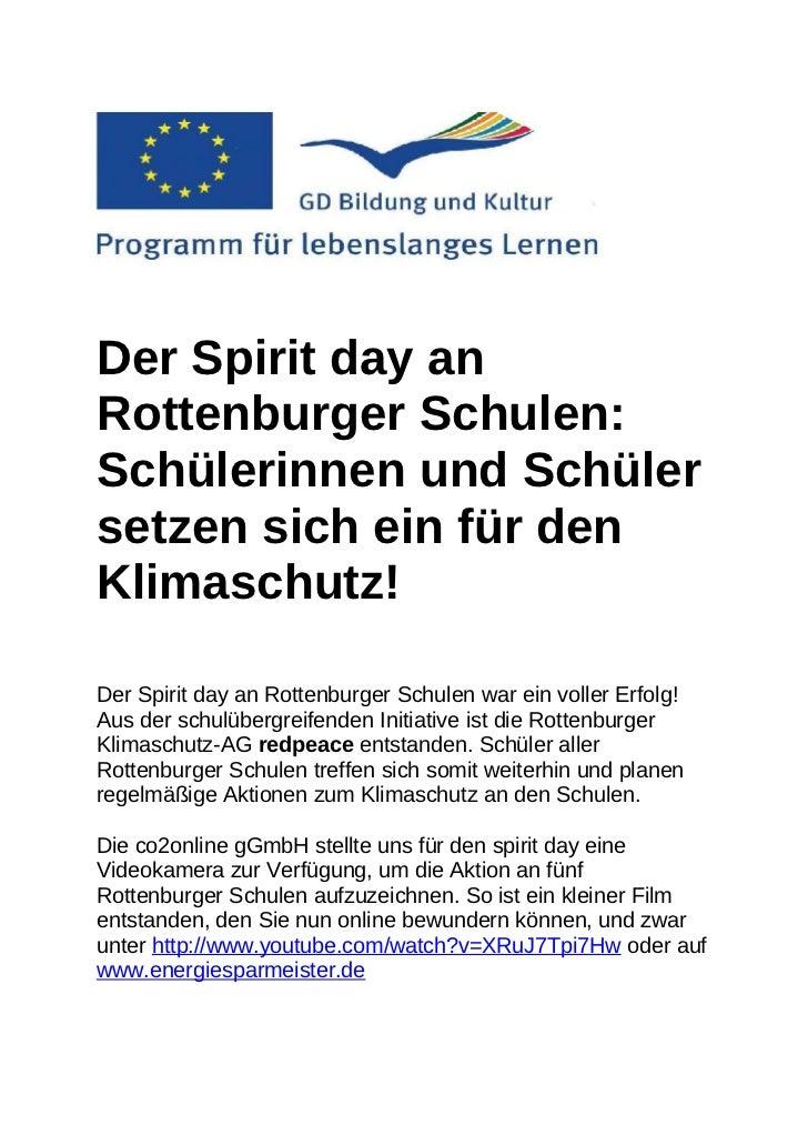 Der Spirit day anRottenburger Schulen:Schülerinnen und Schülersetzen sich ein für denKlimaschutz!Der Spirit day an Rottenb...