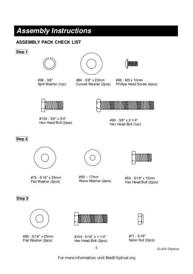 owners manual for spirit esprit el 455 elliptical trainer rh slideshare net