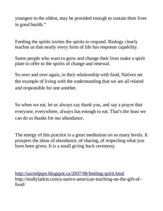 """youngest to the oldest, may be provided enough to sustain their lives in good health."""" Feeding the spirits invites the spi..."""
