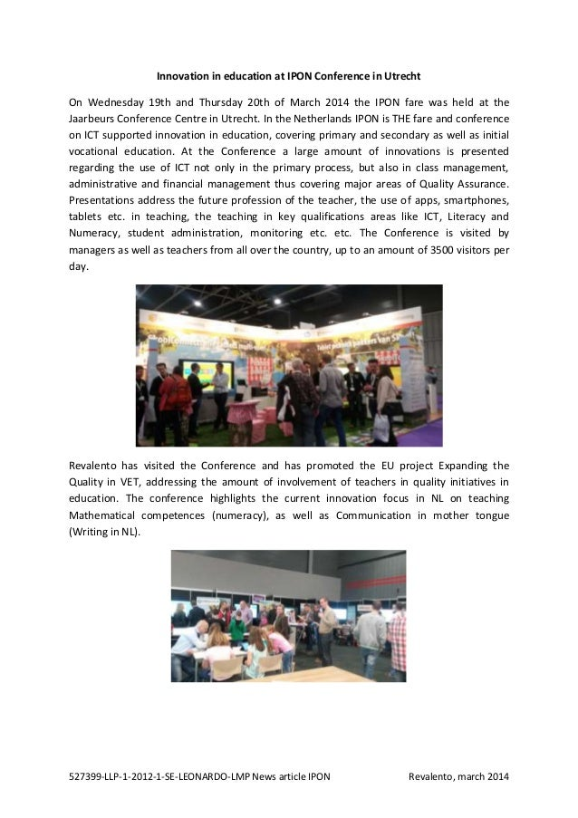 527399-LLP-1-2012-1-SE-LEONARDO-LMP News article IPON Revalento, march 2014 Innovation in education at IPON Conference in ...