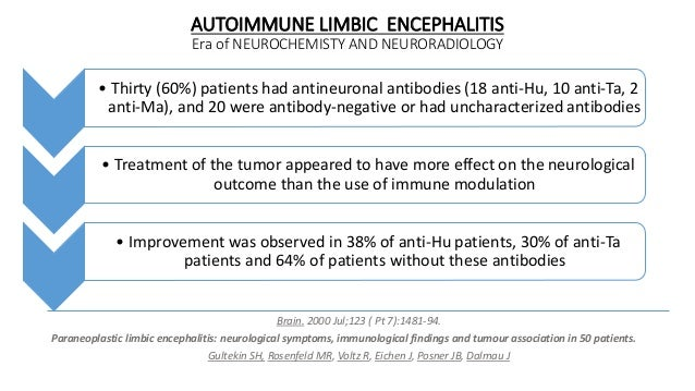 AUTOIMMUNE LIMBIC ENCEPHALITIS Era of NEUROCHEMISTY AND NEURORADIOLOGY • Thirty (60%) patients had antineuronal antibodies...