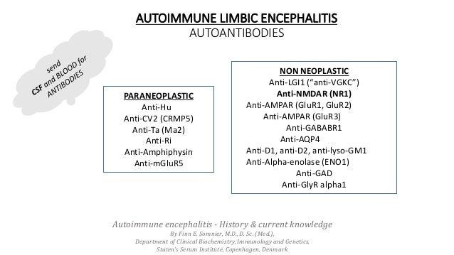 AUTOIMMUNE LIMBIC ENCEPHALITIS AUTOANTIBODIES PARANEOPLASTIC Anti-Hu Anti-CV2 (CRMP5) Anti-Ta (Ma2) Anti-Ri Anti-Amphiphys...