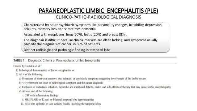 PARANEOPLASTIC LIMBIC ENCEPHALITIS (PLE) CLINICO-PATHO-RADIOLOGICAL DIAGNOSIS Characterized by neuropsychiatric symptoms l...