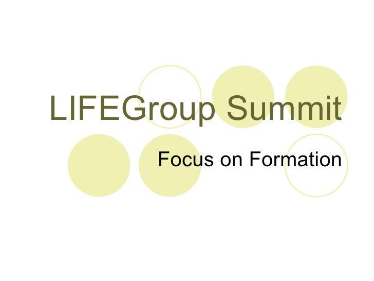 LIFEGroup Summit Focus on Formation