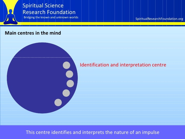 Main centres in the mind This centre identifies and interprets the nature of an impulse   Identification and interpretatio...