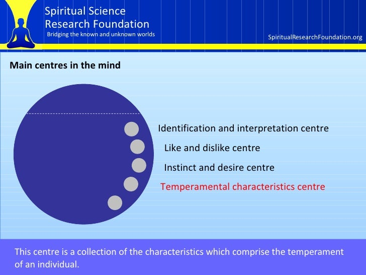 Main centres in the mind This centre is a collection of the characteristics which comprise the temperament  of an individu...