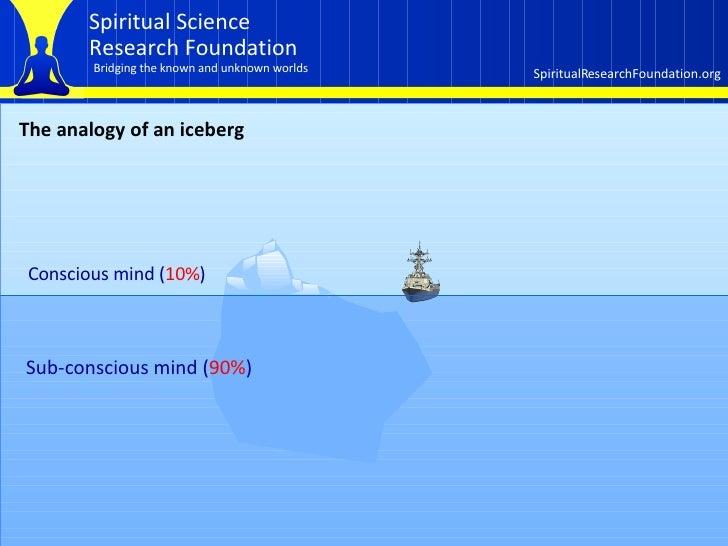 The analogy of an iceberg Conscious mind ( 10% ) Sub-conscious mind ( 90% )