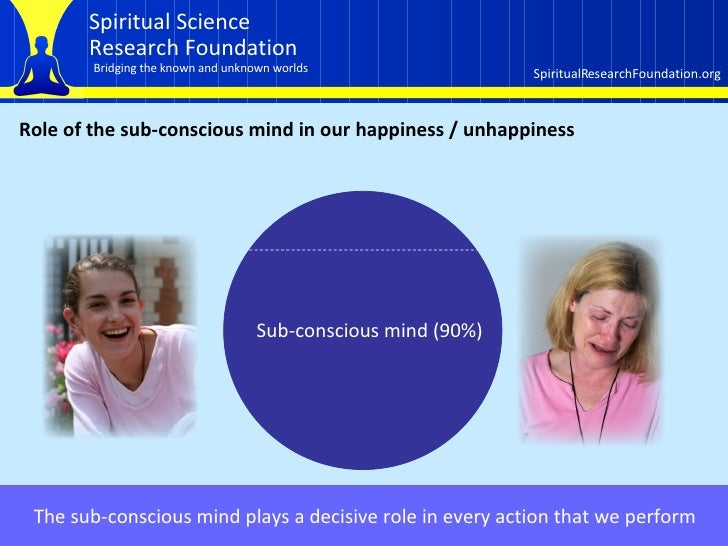 Role of the sub-conscious mind in our happiness / unhappiness Sub-conscious mind (90%) The sub-conscious mind plays a deci...