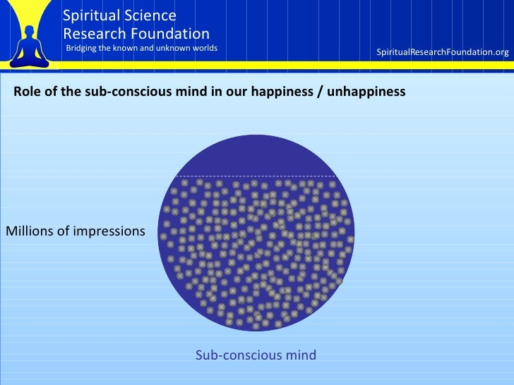 Role of the sub-conscious mind in our happiness / unhappiness Sub-conscious mind  Millions of impressions