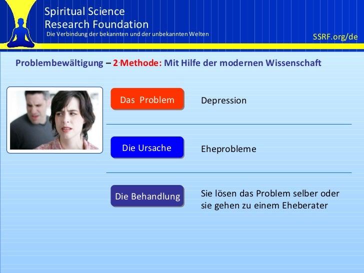 Problembewältigung  –  2 . Methode:  Mit Hilfe der modernen Wissenschaft Das  Problem Die Ursache Die Behandlung Depressio...