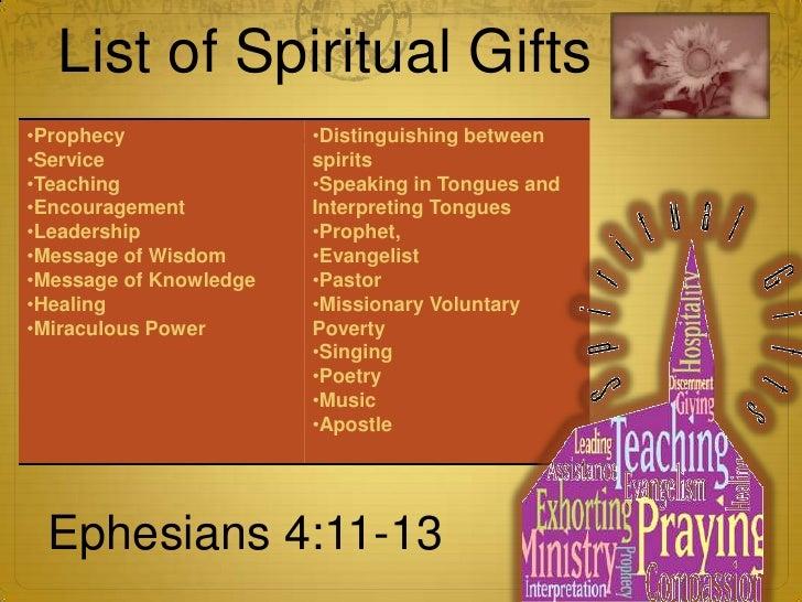 nine spiritual gifts