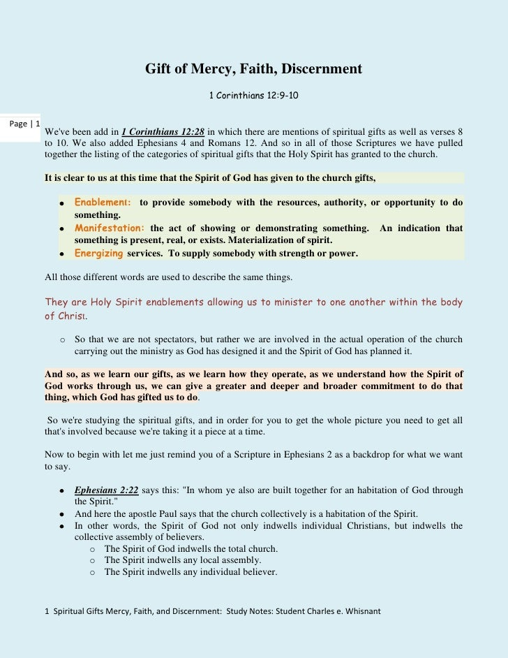 Spiritual Gifts Mercy Faith Discernment Study Notes Autosaved