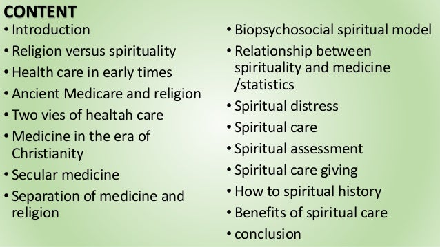 Spirituality and religion in health care