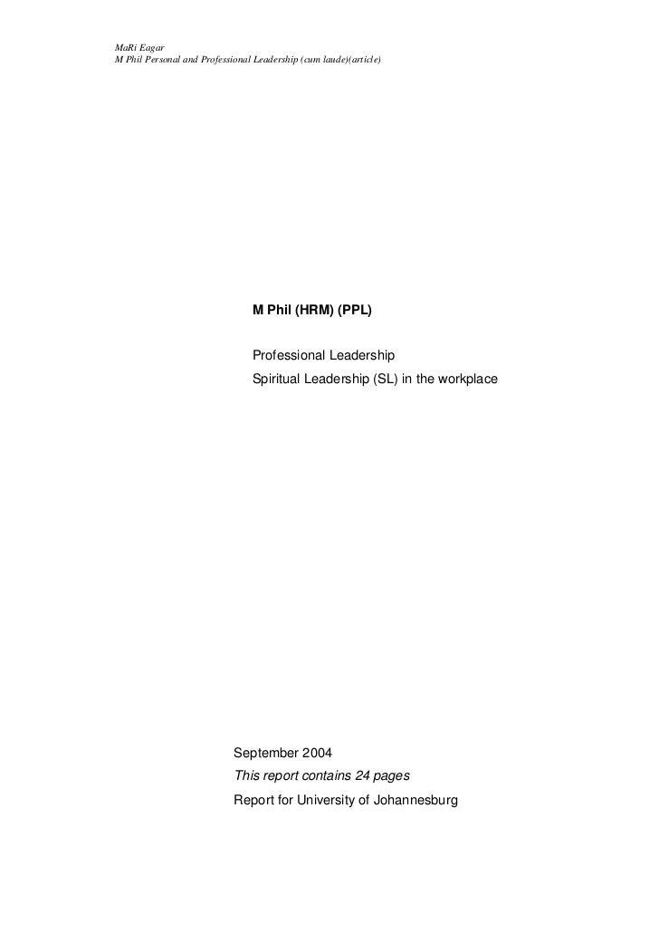 MaRi EagarM Phil Personal and Professional Leadership (cum laude)(article)                                 M Phil (HRM) (P...