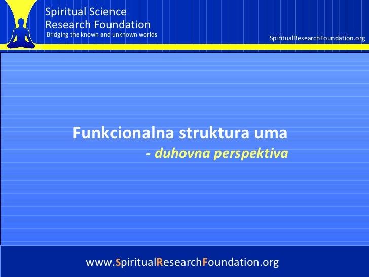 Cover Funkcionalna struktura uma  www. S piritual R esearch F oundation.org -   duhovna  perspe ktiva