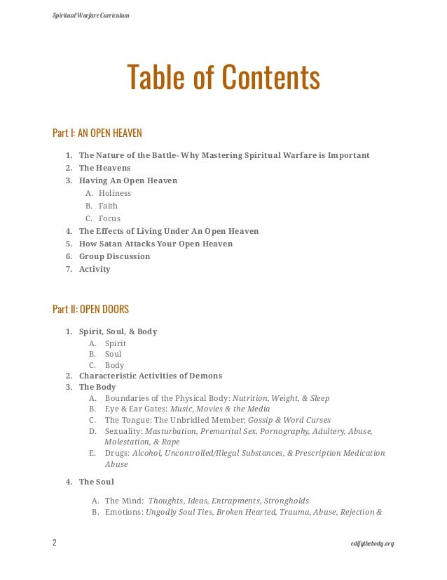 Spiritual Warfare Curriculum Lesson Plans Ebook