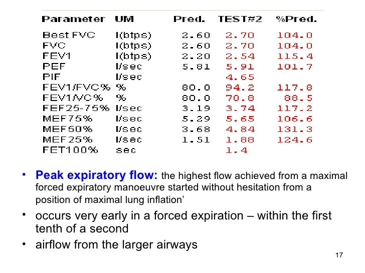 <ul><li>Peak expiratory flow:   the highest flow achieved from a maximal forced expiratory manoeuvre started without hesit...